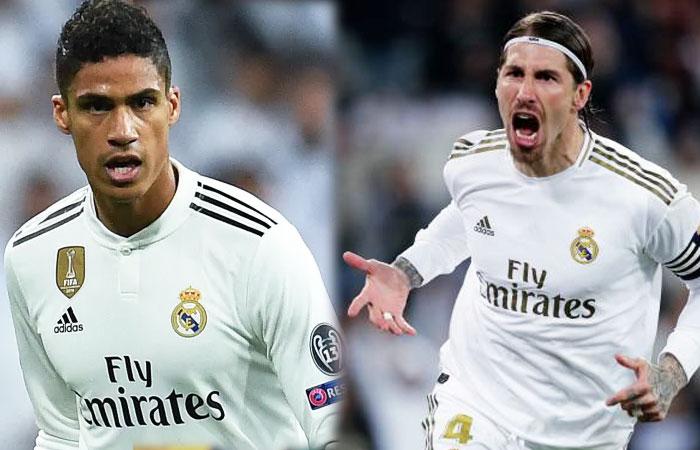 Real Madrid's Raphael Varane and Sergio Ramos