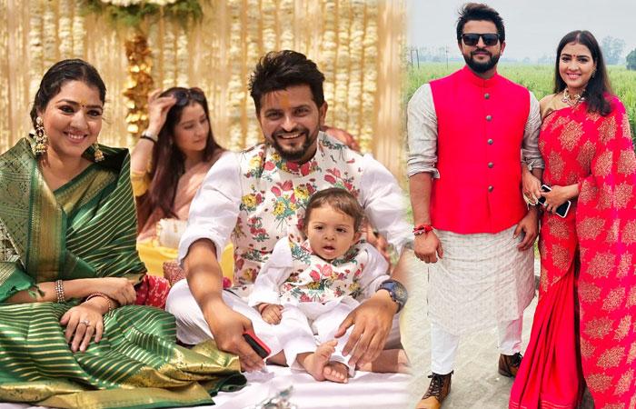 Suresh Raina With Wife Priyanka Chaudhary and daughter Gracia Raina