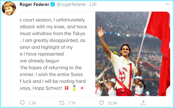 Roger Federer Suffered from Knee injury and he withdraws from Tokyo Olympics - Twitter