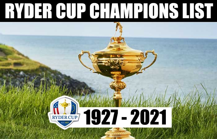 Ryder Cup Champions List Of Year by Year