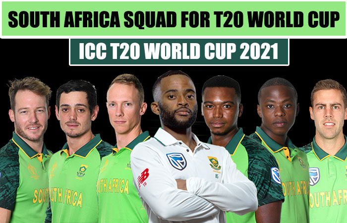 South Africa Team Squad for ICC Mens T20 World Cup 2021
